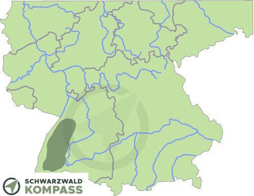Lage vom Schwarzwald auf einer Deutschlandkarte.