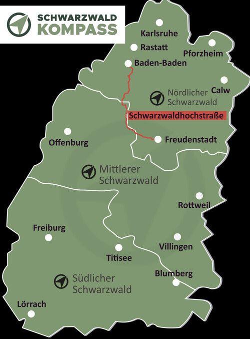 Verlauf der Schwarzwaldhochstraße von Baden-Baden bis Freundenstadt.